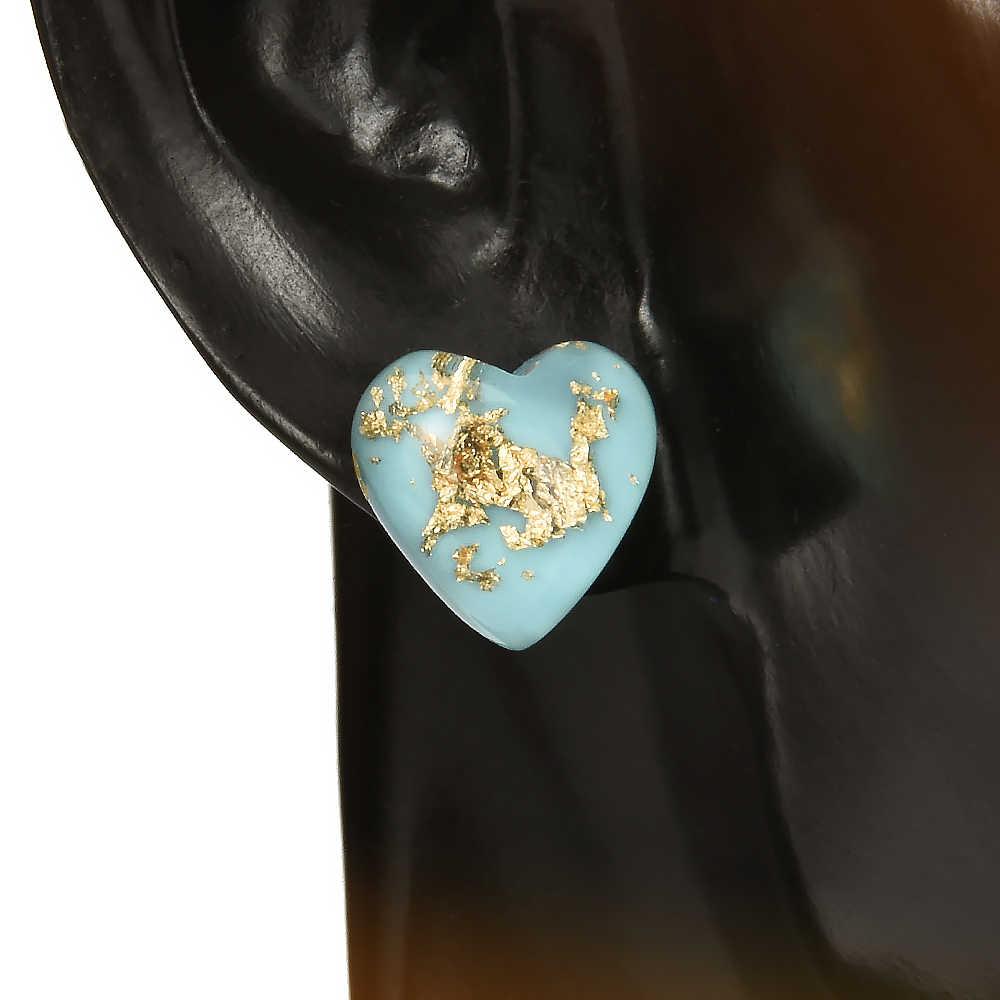 2019 かわいい気質レトロ女性ガール天然石グリーンハート型のイヤリング耳スタッドジュエリーウェディングアクセサリー