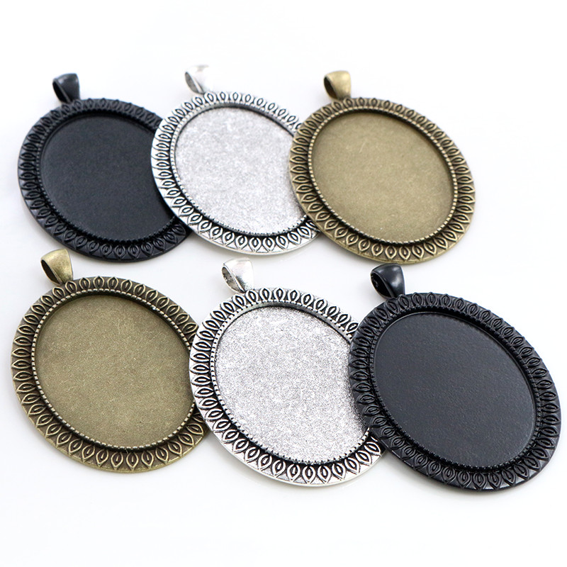New Fashion 5pcs 30x40mm Inner Size Antique Silver Plated Black And Bronze Simple Style Cabochon Base Setting Pendant Tray