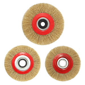 Wire Brush Wheel for Bench Grinder Polish + Reducers Adaptor Rings