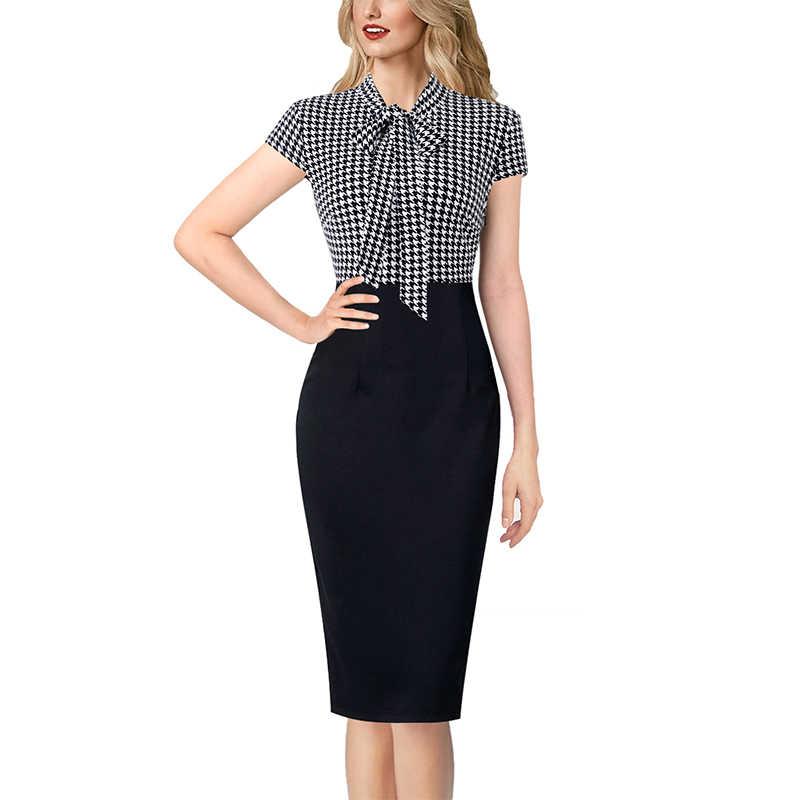 Vfemage женское элегантное платье с рукавами-колокольчиками и замочной скважиной на шее, с принтом, из кусков, для работы, бизнеса, офиса, вечерние, облегающее платье-футляр 2843