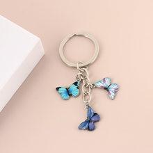 Porte-clés papillon en émail coloré, accessoires de sac pour femmes, accessoires de voiture, bijoux cadeaux, nouvelle collection