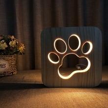 Warm-Light Dog-Paw-Lamp Wooden Kids Bedroom Decoration Led-Night-Light Christmas-Gift