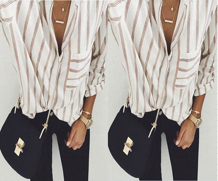 new women blouse fashion 2020 female womens top striped vintage shirt ladies classics comfort elegance clothing top xxl