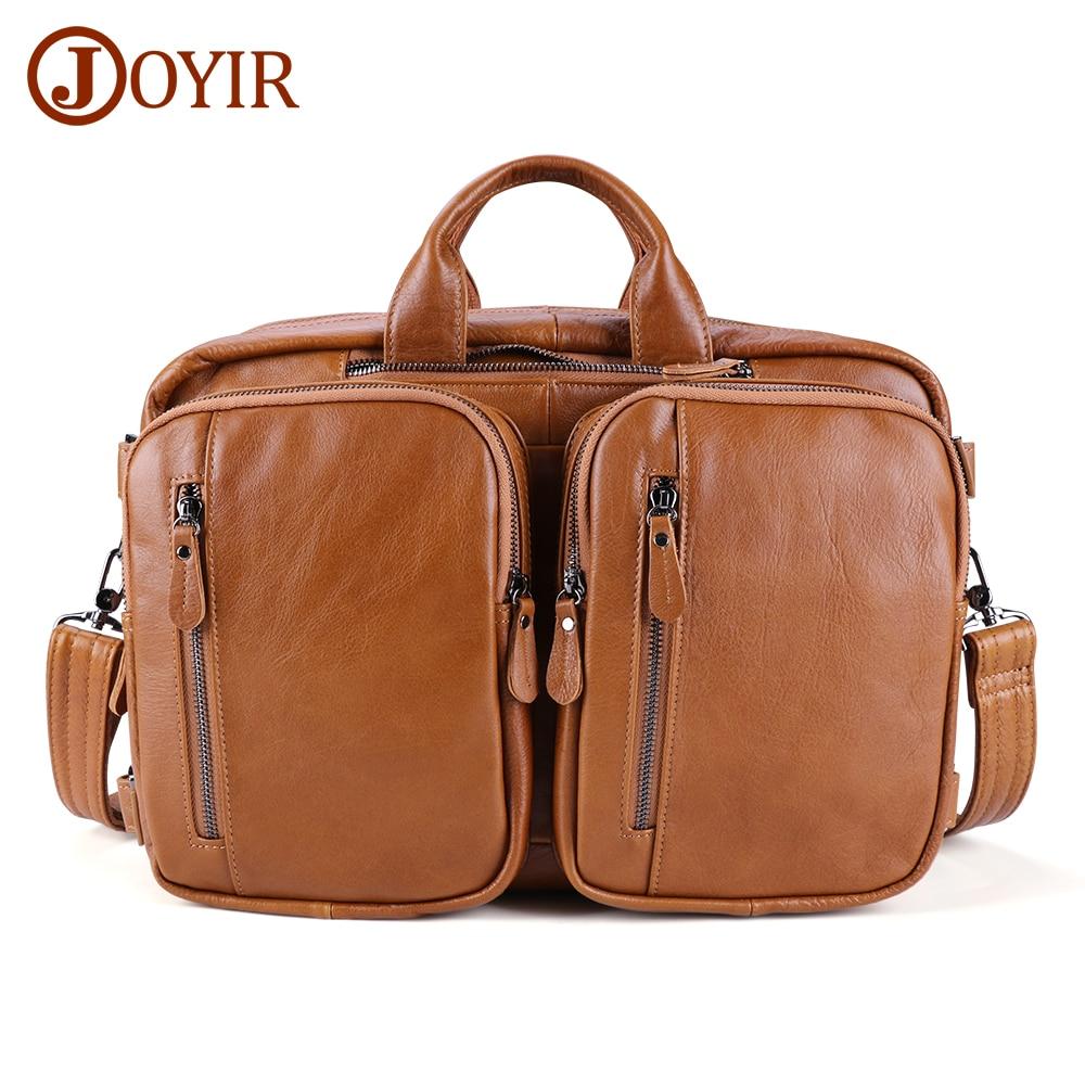 JOYIR Genuine Leather Men's Briefcase Large Capacity Shoulder Crossbody Bag High Quality Male Briefcase Multi-function Briefcase