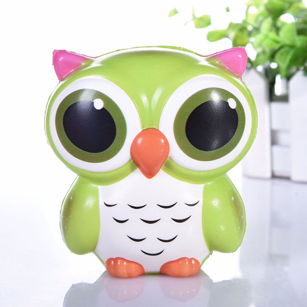 Kids Cute Simulation Animal PU Squishy Slow Rising Simulation Squeeze Decompression Owl Squeeze Toy For Adult