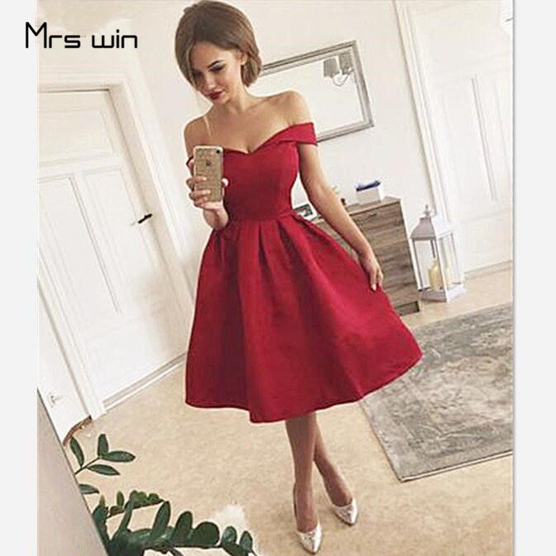 Mrs Win Cocktail Dresses Woman Short Cocktail Dress Burgundy Plus Size Off Shoulder Pleated Corset Back Robe Cocktail 2020 HR089