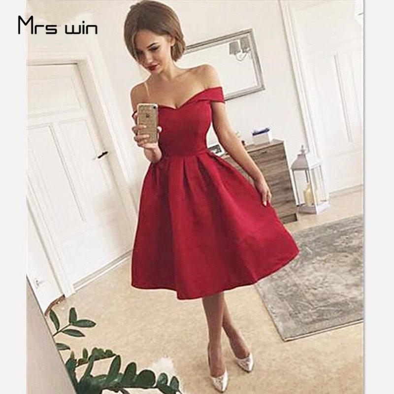 Mrs Win Cocktail Dresses Woman Short Cocktail Dress Burgundy Plus Size Off Shoulder Pleated Corset Back Robe Cocktail 2020 HR089