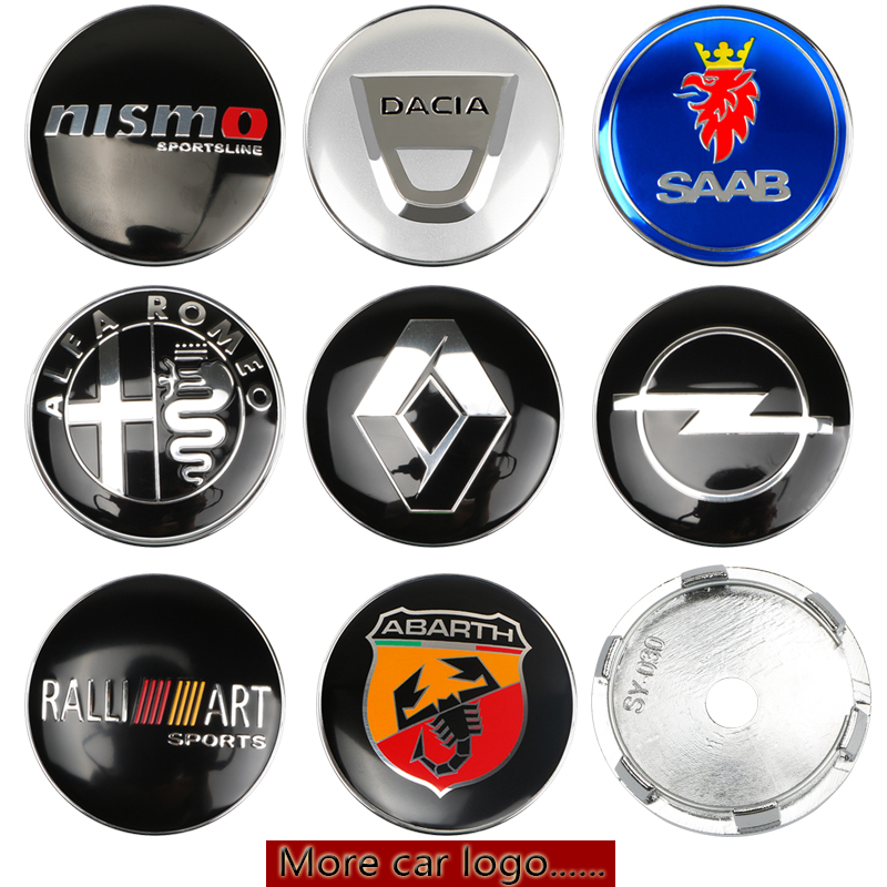 RENAULT 60mm 4PCS SET Wheel Center Alloy Emblems Badges Stickers Decals Black