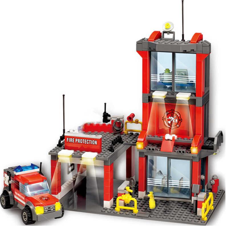 Nova estação de bombeiros da cidade legoes blocos de construção define caminhão de bombeiros tijolos playmobil brinquedos para crianças