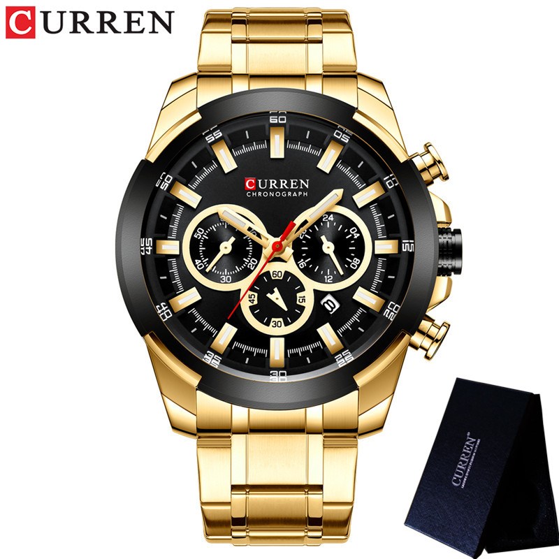 Image 4 - CURREN Man WristWatch Waterproof Chronograph Men Watch Military Top Brand Luxury Gold New Stainless Steel Sport Male Clock 8361Quartz Watches   -