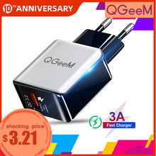 Qgeem Qc 3.0 Usb Charger Fiber Tekening Quick Charge 3.0 Fast Charger Draagbare Telefoon Opladen Adapter Voor Iphone Xiaomi Mi9 eu Ons(China)