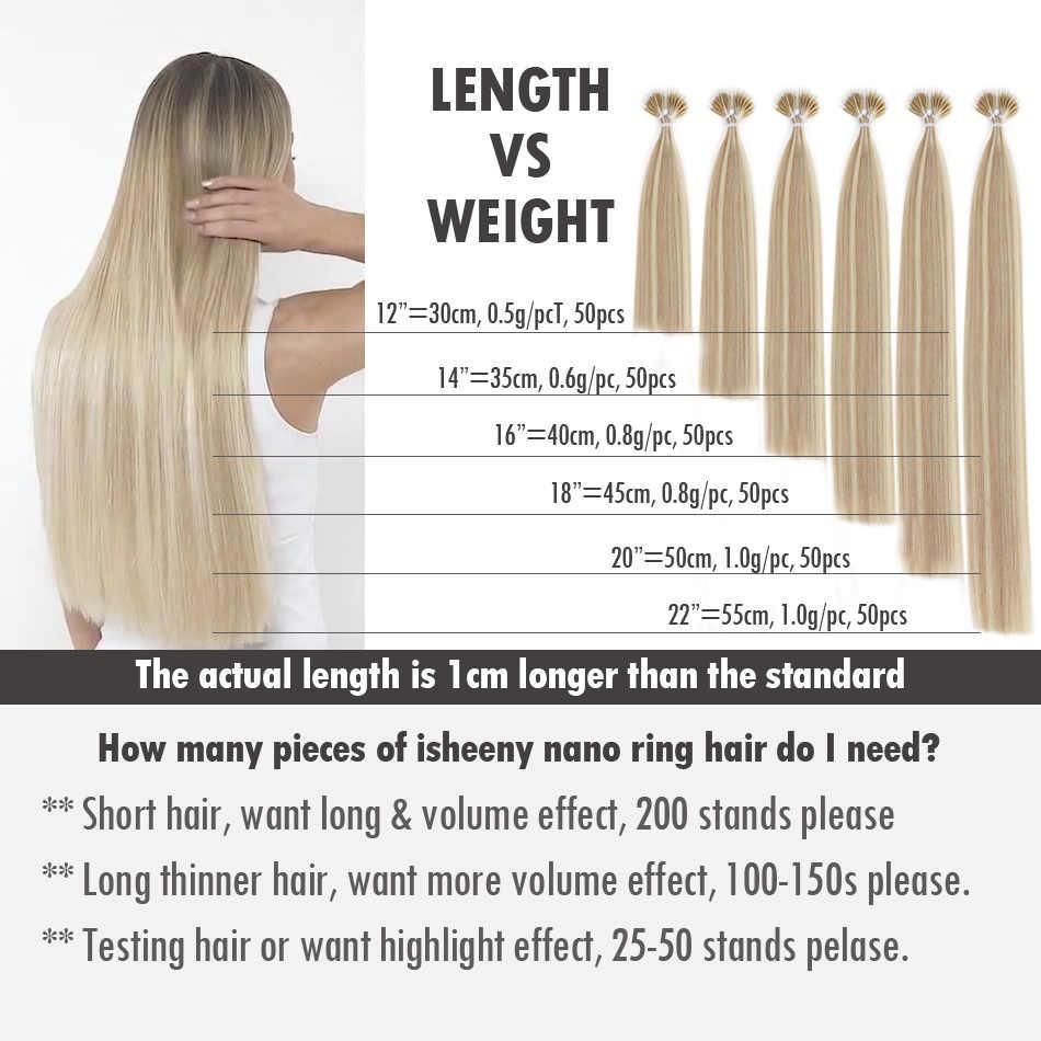 """Isheeny 14 """"18"""" 22 """"Remy Micro doczepy do włosów z koralikami w nano pierścionek linki ludzkie włosy proste 9 kolorów blond europejskie włosy"""