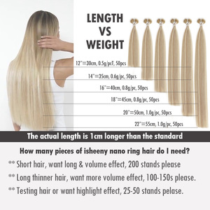 """Image 4 - Isheeny 14 """"18"""" 22 """"Remy boncuklu postiş saç ekleme Nano halka linkler insan saçı düz 9 renkler sarışın avrupa saç"""