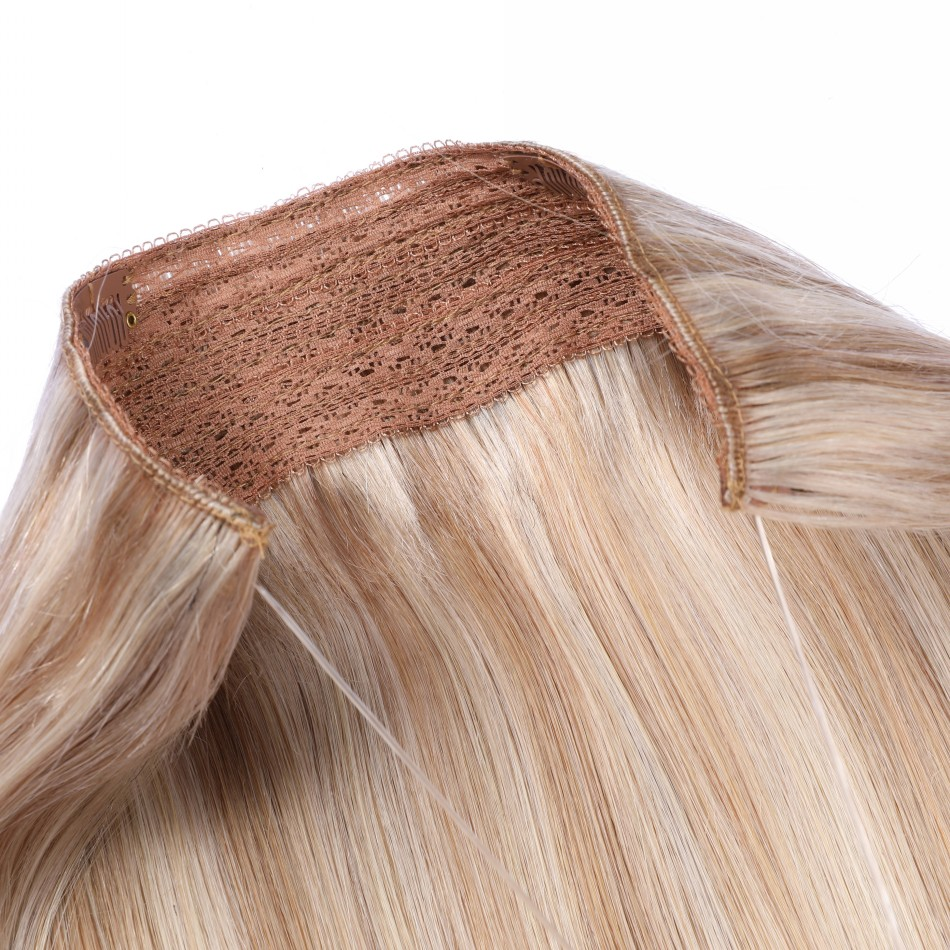 Cheap Factory Wholesale Hair Piece Indian Human Halo Hair Extensions 12-22Inches 70-100Grams Black Brown Blonde Colors