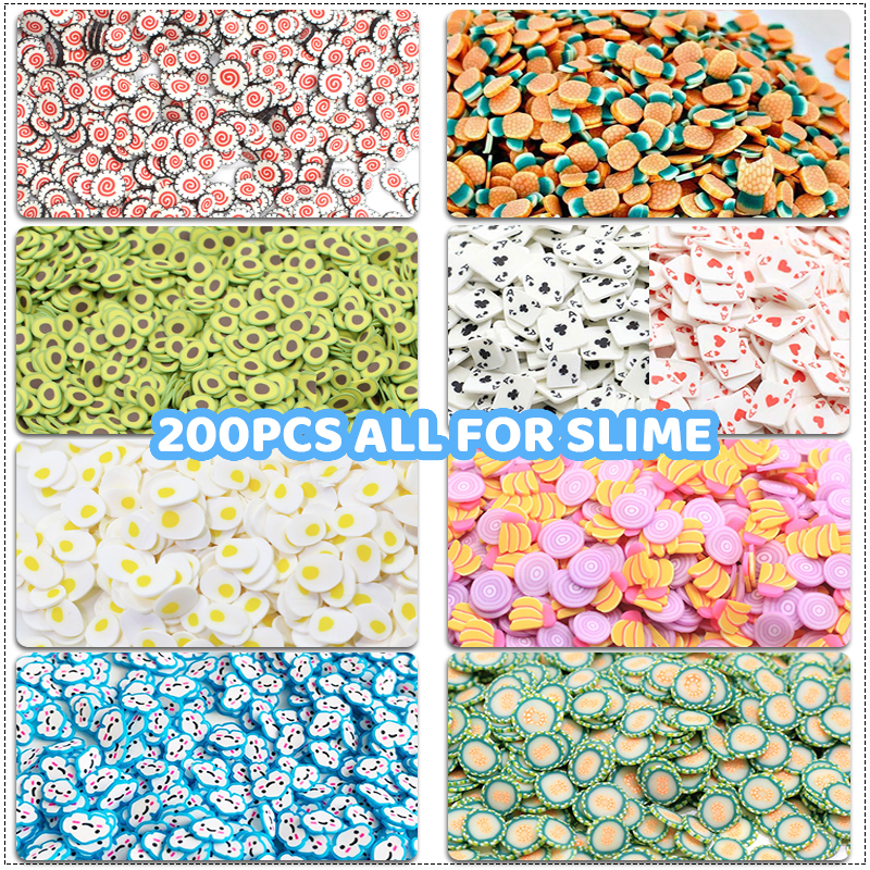 200Pcs Soft Pottery Fruit Slices Slime DIY Nail Art Mobile Beauty Fruit Fimo Bead Additives Phone Accessories For Children Toys