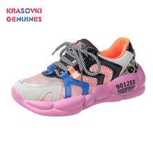 Krasovki Genuines Sneakers Women Hollowed Dropshipping Autumn Candy Colors Students Thick Bpttom Breathable Leisure Shoes