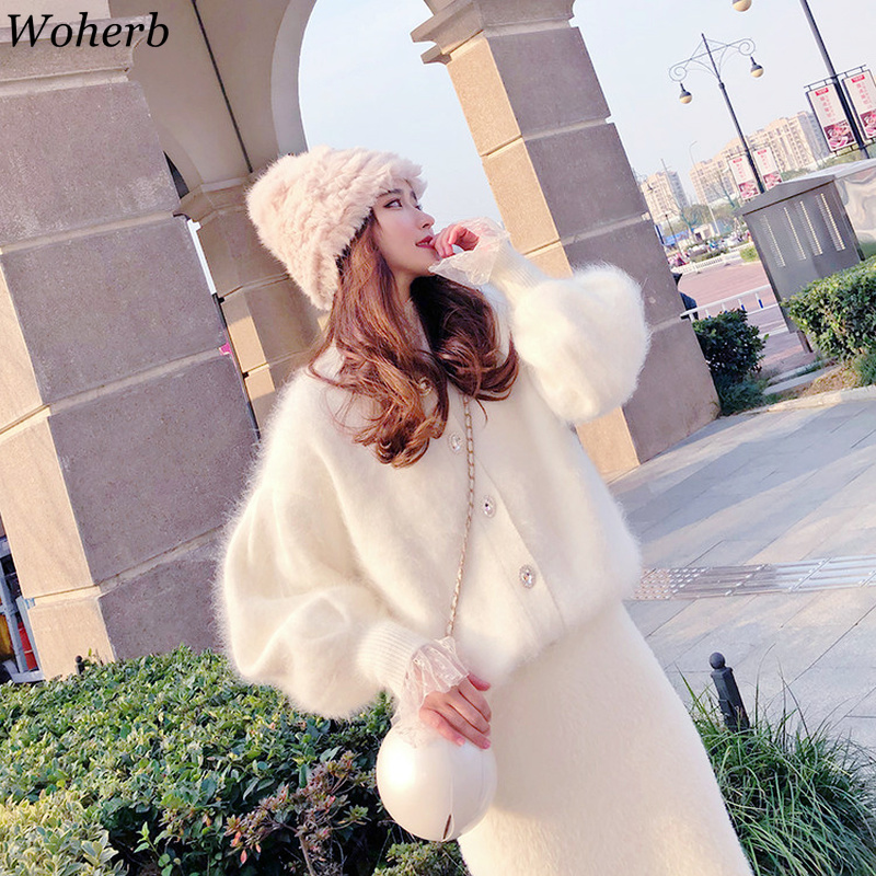 Woherb Cashmere Sweater Coat Women 2020 Autumn Winter Elegant Cardigan Loose Korean Crystal Button Sweaters Jackets 22857