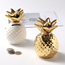 Golden/White Pineapple Ceramic Ornament Storage Box Modeling Gold Coin Piggy Bank Home Decoration Accessories