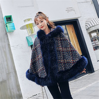 2019 Winter Poncho Women Cape Plus Size Loose Cloak Big Fox Fur Collar Hooded Casual Ponches and Capes Coat Female Tweed Outwear