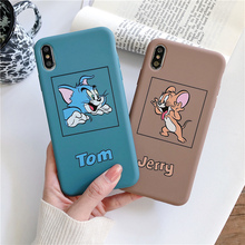 Tom Jerry for case iPhone X XR XS MAX 6 6S 7 8 Plus cartoon Cat Mouse soft matte silicone protection mobile phone pouch s