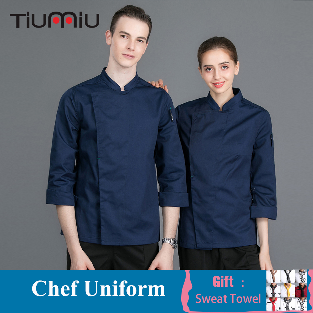 High Quality New Chef Uniform Long Sleeve Solid Color Chef Jacket Hotel Kitchen Work Wear Cafe Bakery Food Service Overalls