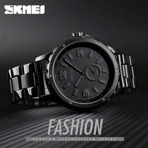 Image 2 - SKMEI Fashion Men Watches Top Brand Luxury Quartz Watch Men Waterproof IP Black Stainless Steel Plating relogio masculino 1513