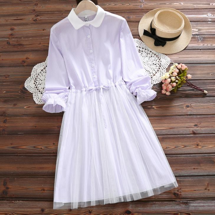 2020 Spring New Style Students WOMEN'S Dress Japanese-style Mori Girl Loose And Plus-sized Waist Hugging Long Sleeve Cotton Line