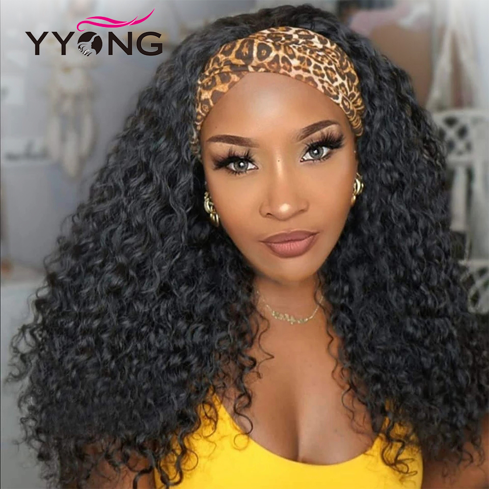 YYong Indian Deep Wave Headband Wig With Scarf Natural  Wigs Glueless Wig for Women Can Be Colord 8-24in Fast Ship 4