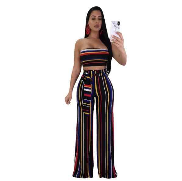 Clubwear In Sọc Hai Bộ 2020 Phụ Nữ Thời Trang Dây Áo Và Quần Dài Ống Rộng Conjunto Feminino Đảng ZN99