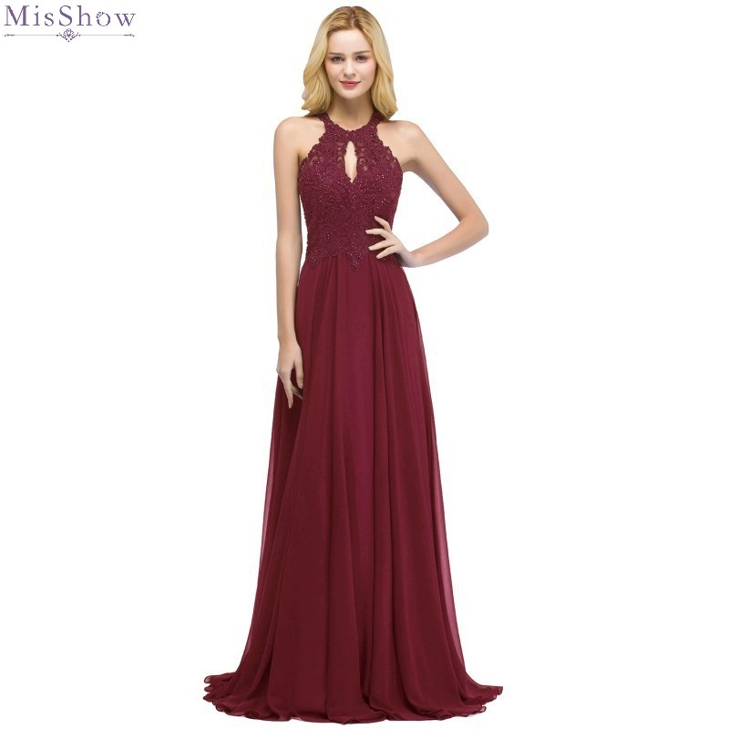 Burgundy Chiffon Long Evening Dress 2019 A line Formal Gown Beaded Sleeveless robe de soiree