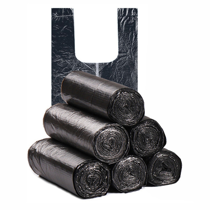 100Pcs/5 Rolls  Vest Type Garbage Bag Household Cleaning Accessories Portable Point-Break Disposable Thick Garbage Bag 45x63cm