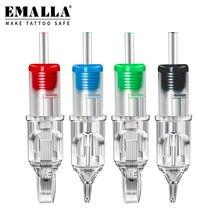 EMALLA 20PCS 0.35MM Sterilized Tattoo Needles RL/RS/RM/M1 Disposable Tattoo Cartridges Tattoo Machine Permanent Makeup Machine