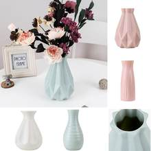 Plastic Shatter-proof Flower Pot Vase Modern Study Room Hallway Wedding Home Office Decor Tabletop Vase(China)