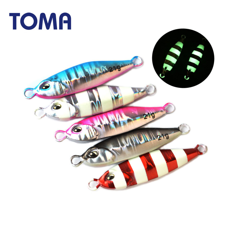 TOMA Mini Micro Lead Metal Jig 5g 10g 14g 21g Shore Fishing Long Cast Luminous Jigging Lure Spoon Seawater Bait Tackle