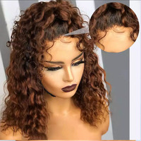 Short Bob Curly 360 Lace Frontal Human Hair Wigs Ombre Dark Blonde High Ponytail Brown Silk Base Full Lace Wigs U Part Wigs