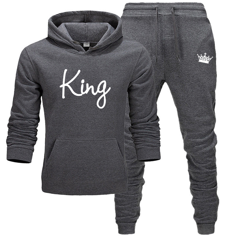 2020 Men's Sets King Letter Print Hoodies+Pants Harajuku Wholesale Sport Suits Casual Sweatshirts Tracksuit Sportswear