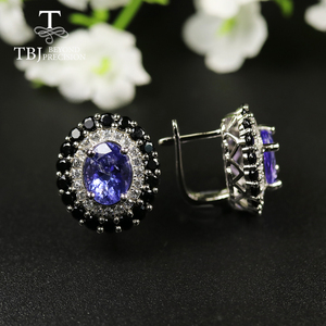 Image 1 - tbj 4ct Nautral Blue Tanzanite Clasp earring 925 sterling silver fine jewelry oval 7*9mm dianna earring for women christmas gift