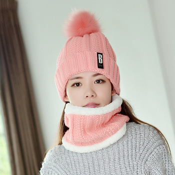 Autumn Winter Women's Hat Caps Knitted Wool Warm Scarf Thick Windproof Balaclava Multi Functional Hat Scarf Set For Women new youth winter thick plus cashmere warm masks hat scarf autumn winter women s knit hat wool ball cover ear collar three set