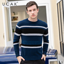 UCAK Brand Casual Striped Pull Homme O-Neck Pullover Men Pure Merino Wool Sweater Men Autumn Winter Warm Cashmere Sweaters U3098