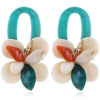 2019 Boho déclaration boucles d'oreilles femmes balancent grande fleur coquille corail goutte acrylique boucle d'oreille Vintage indien boucles d'oreilles Aretes résine océan