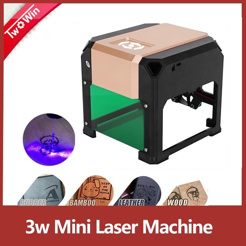 MYSWEETY Machine de Gravure 3000mw Mini DIY CNC Graveure Zone de Travail 80X80mm pour Logo DIY Plastique Papier