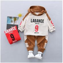 2019 Autumn New Kids Infant  Clothing Suit Toddler Boys Clothes Set Cotton Hooded Letter Coat Pants Children Tracksuit
