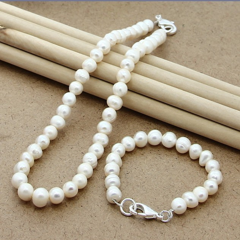 Bridal-Jewelry-Set Necklace 925-Silver Wedding-Trendy High-Quality Women Pearl for Natural-Freshwater-Pearl