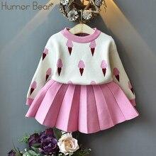Humor Bear 2020 zimowe zestawy ubrań dla dzieci boże narodzenie dziewczynek ubrania garnitur 2 sztuk sweter + sukienka plisowana ubrania dla dzieci stroje