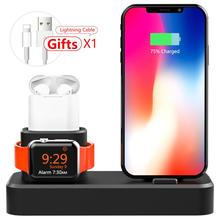 3 in 1 Charging Dock Holder, Silicone Stand  For iPhone X/XS/Xs Max/8/8 Plus and Apple Watch 4/3/2/1 Airpods