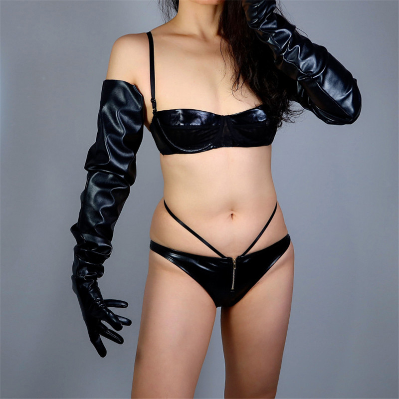 Touchscreen Extra Long Gloves 90cm Big Sleeve Loose Pile Pile Sleeves Simulation Leather Pure Black Male Female Gloves WPU178