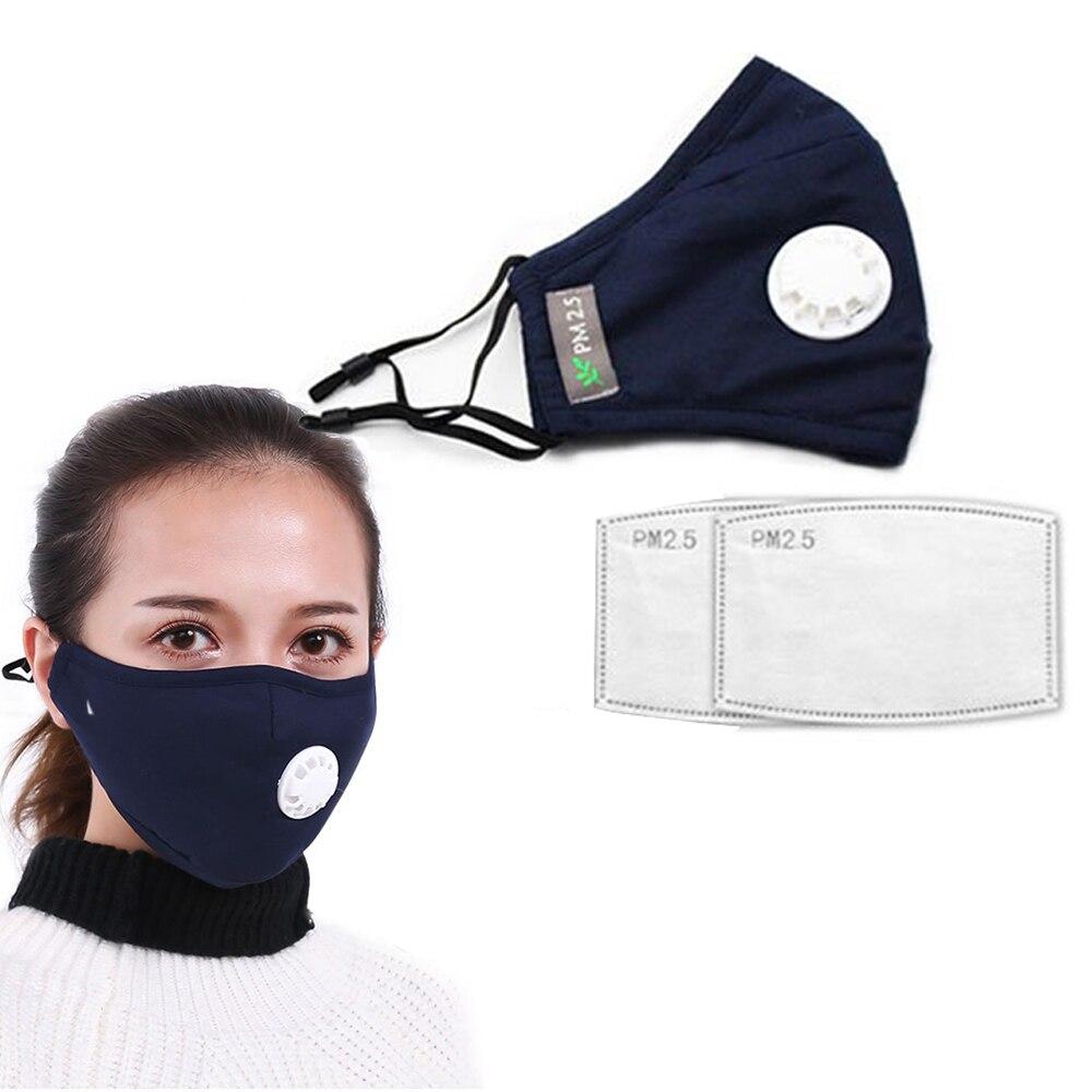 Tcare Fashion Cotton Face Mask Respirator Washable Reusable Mouth Masks + 2Pcs Activated Carbon Filter PM2.5 for Men Women 1