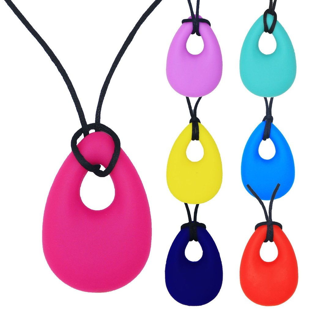 Silicone Baby Teether Drop Ring Teething Toddler Kids Necklace Molars ADHD SPD Autism & Oral Motor  Training Infant Chew Toy