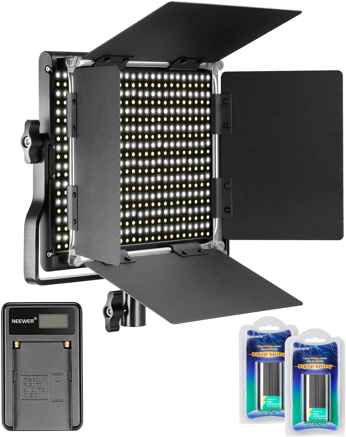 Neewer Dimmable Bi color 660 LED Video Light 3200 5600K with U Bracket+Barndoor+2 Pieces Rechargeable Li ion Battery+USB Charger| |   - AliExpress
