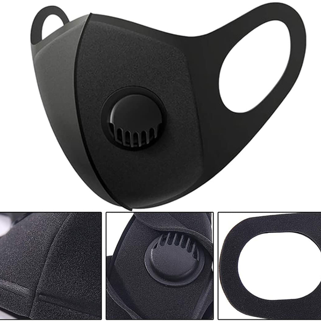 2pcs Face Protective Mask Kpop Cotton Black Valve Mask Mouth Face Masks Anti PM2.5 Dust Maske Washable Reusable 2
